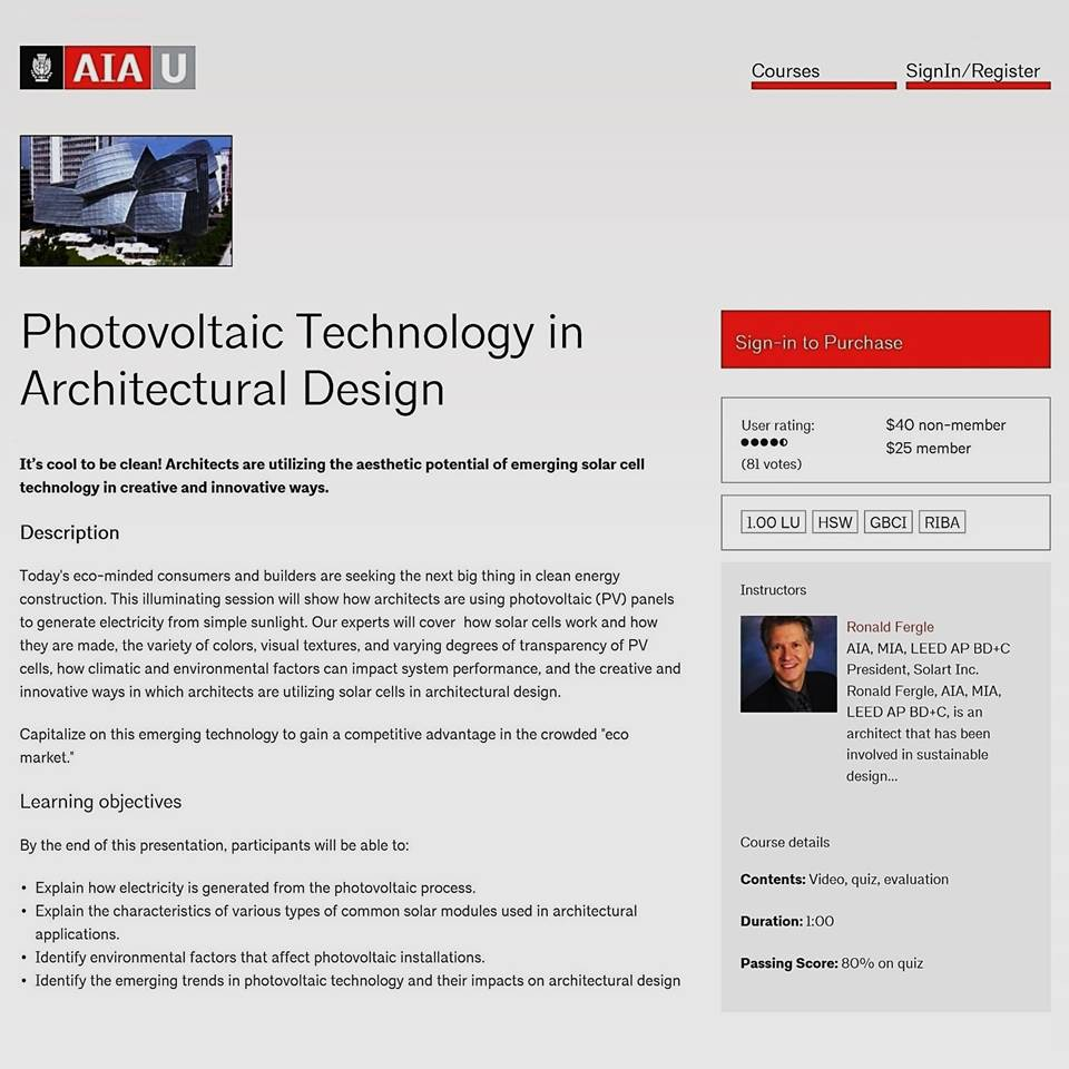 PHOTOVOLTAIC TECHNOLOGY IN ARCHITECTURAL DESIGN AIAU COURSE